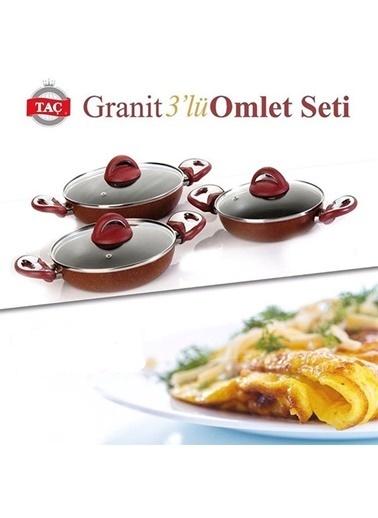 Taç Mutfak TAÇ Granit 3`lü Omlet Set (18,20 ve 22 cm) Kırmızı